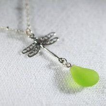 Load image into Gallery viewer, Sea Glass Dragonfly Charm Necklace in Silver