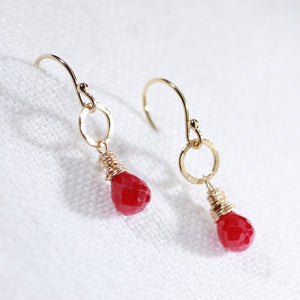 Ruby Gemstone and hammered circle Earrings in 14 kt Gold Filled