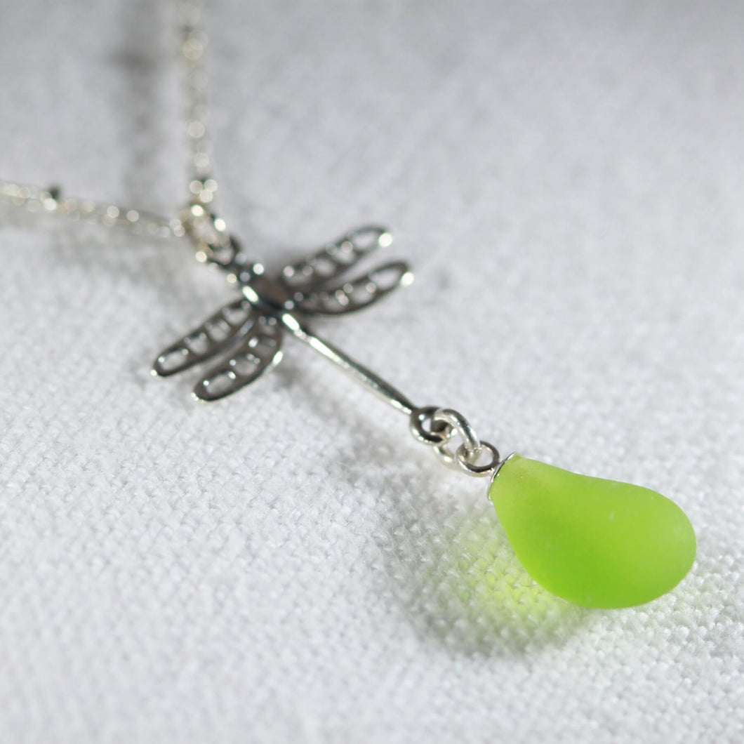 Sea Glass Dragonfly Charm Necklace in Silver