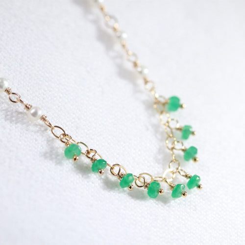 Emerald Gemstone Charm Necklace in 14 kt gold filled