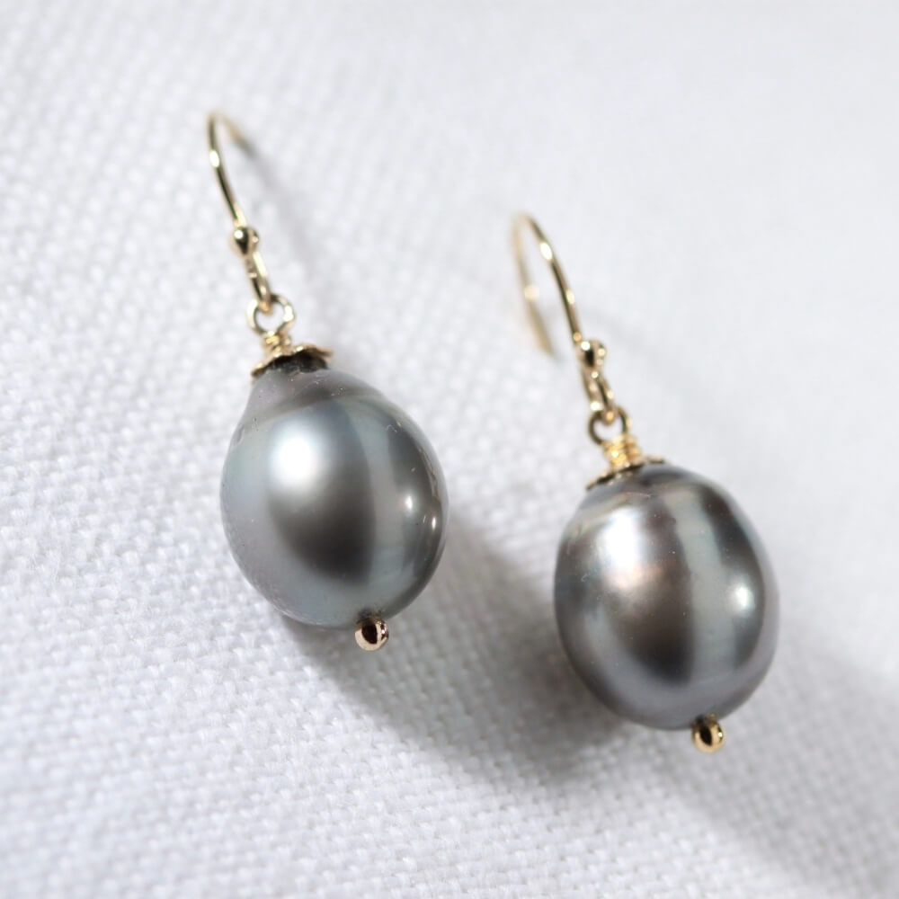 Tahitian Black Pearl Earrings in 14kt gold filled