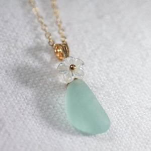 Light Aqua blue Sea Glass necklace in 14kt GF with a sweet carved MOP flower