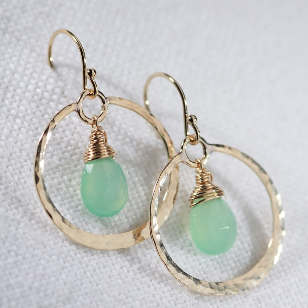 Chrysoprase gemstone and Hammered Hoop Earrings in 14kt gold filled