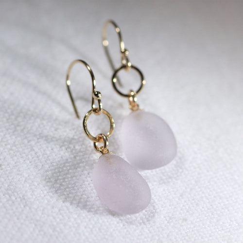 Lavender Sea Glass Earrings in hammered 14 kt gold-filled circle