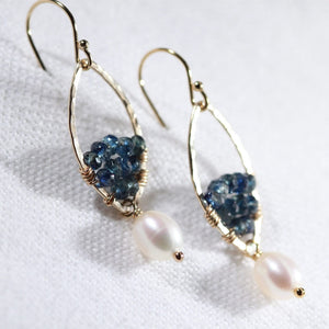 Sapphire gemstone and Hammered marquise Hoop Earrings in 14 kt Gold Filled