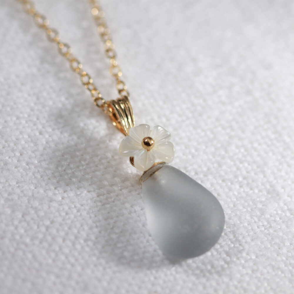 Gray Sea Glass necklace in 14kt GF with a sweet carved MOP flower
