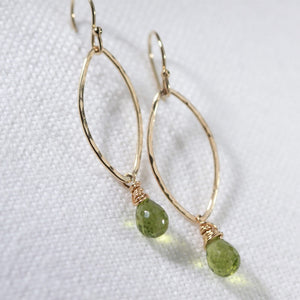 Peridot Hammered marquise Hoop Earrings in 14 kt Gold Filled