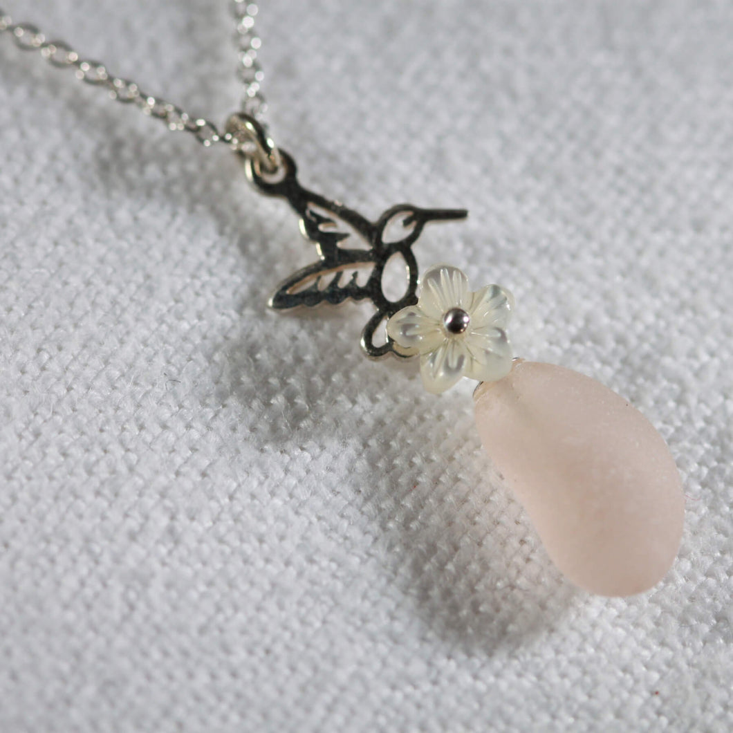 Hummingbird Sea Glass Necklace