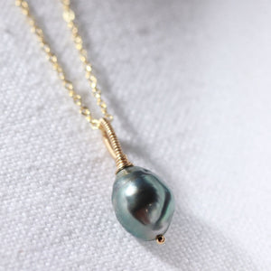 Tahitian Black Pearl Pendant Necklace in 14 kt Gold-Filled