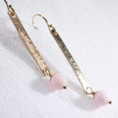 Opal, Peruvian Pink and Hammered Bar Earrings in 14 kt Gold Filled