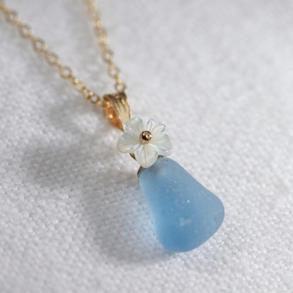 Cornflower blue Sea Glass necklace in 14kt GF with a sweet carved MOP flower