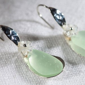 Fancy Ear Wire Floating Silver Bezel and Sea Glass Earrings