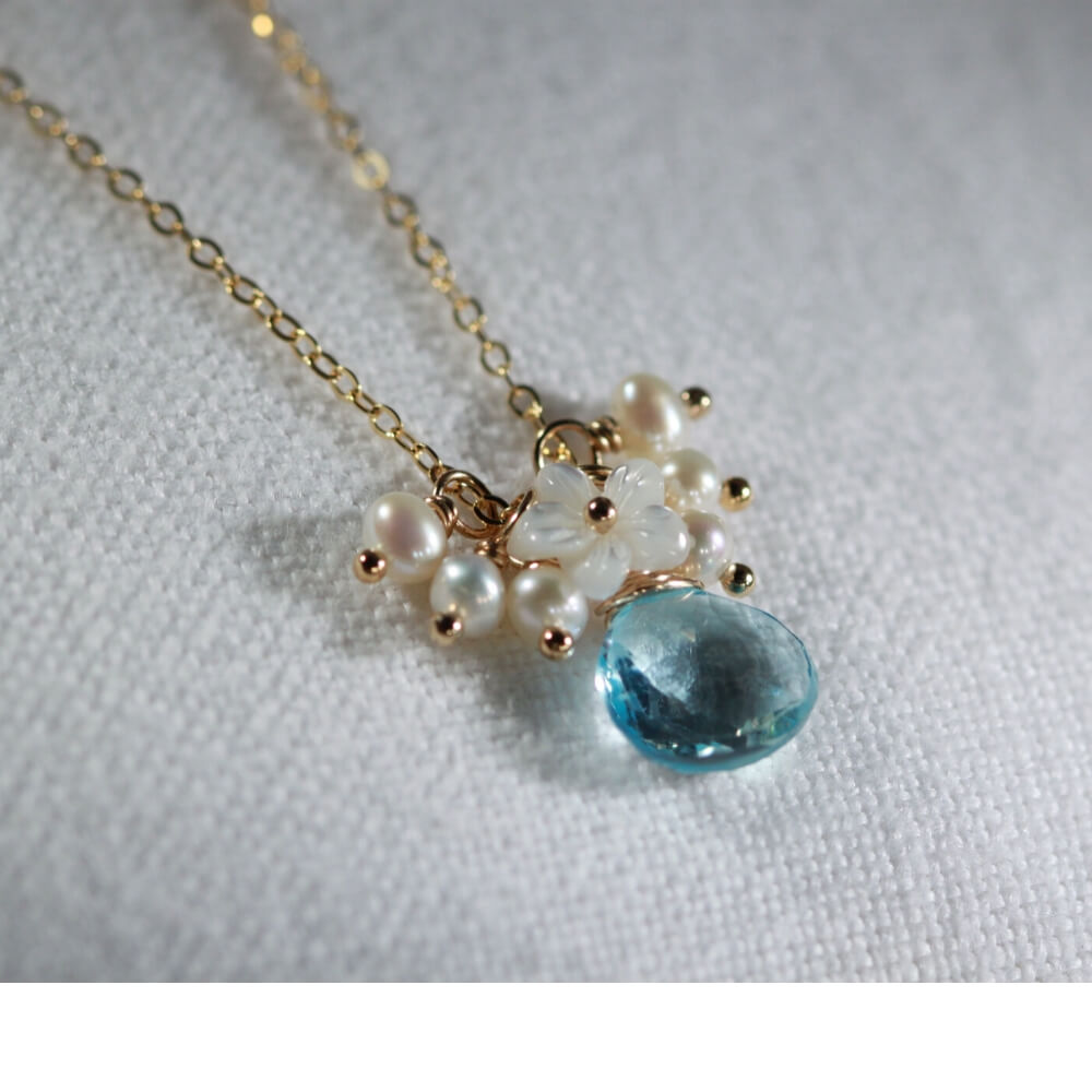 Blue Topaz and MOP Flower Charm Necklace in 14 kt Gold-Filled