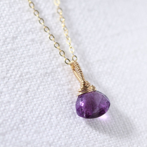 Amethyst pendant Necklace in 14 kt Gold-Filled