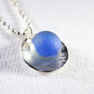 Blue Beachball Cat's Eye Peewee Marble One of a Kind Necklace in Sterling Silver