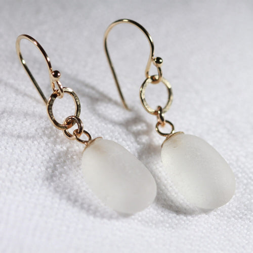 White Sea Glass Earrings in hammered 14 kt gold-filled circle