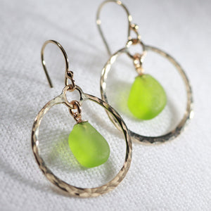 Lime Green Sea Glass on hammered 14 kt gold-filled hoops