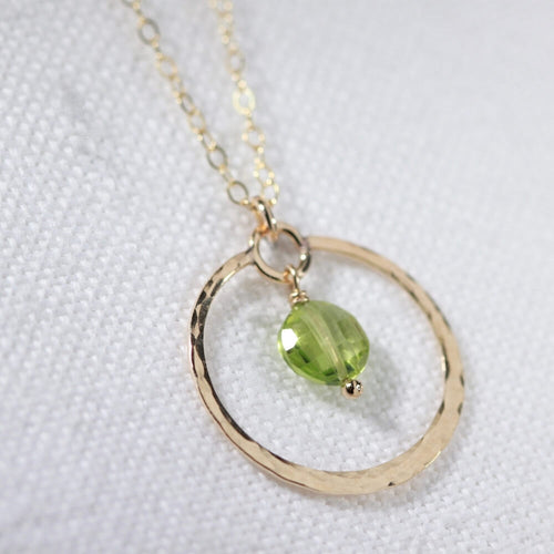 Peridot Briolette gemstone Necklace with Hammered hoop in 14kt gold filled