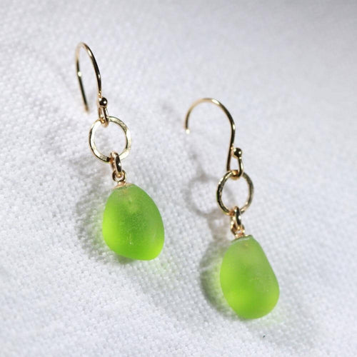 Lime Green Sea Glass Earrings on hammered 14 kt gold-filled flower