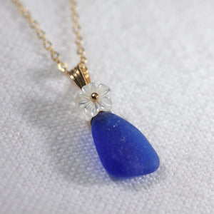 Sweet Cobalt Sea Glass necklace in 14kt GF with a sweet carved MOP flower