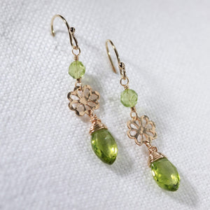 Peridot Marquise gemstone and hammered flower Earrings in 14 kt Gold Filled