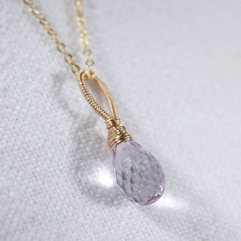Amethyst Drop Briolette pendant Necklace in 14 kt Gold-Filled