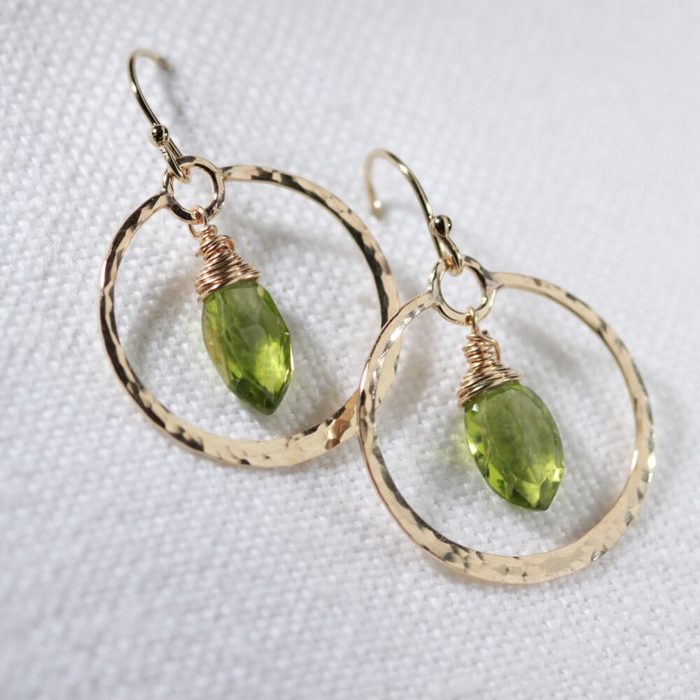 Peridot Marquise gemstone and Hammered Hoop Earrings in 14 kt Gold Filled
