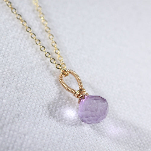 Amethyst Onion cut pendant Necklace in 14 kt Gold-Filled