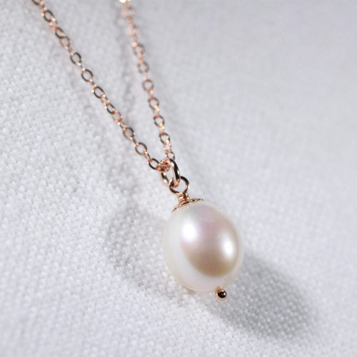 Freshwater Pearl Necklace in 14kt rose gold filled