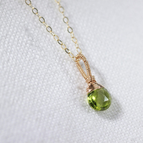 Peridot Briolette gemstone pendant Necklace in 14 kt Gold-Filled