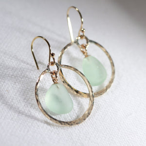 Sea foam green Sea Glass on hammered 14 kt gold-filled hoops