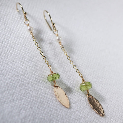 Peridot gemstone and pearl Dangle Chain Earrings in 14kt gold filled