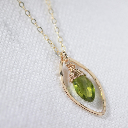 Peridot Marquise Briolette Charm Necklace in 14kt gold filled