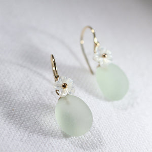 Sea foam green Sea Glass Earrings in 14 kt gold-filled with a MOP flower charm