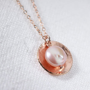 Pink Coin Pearl Necklace with Hammered disc in 14kt rose gold filled