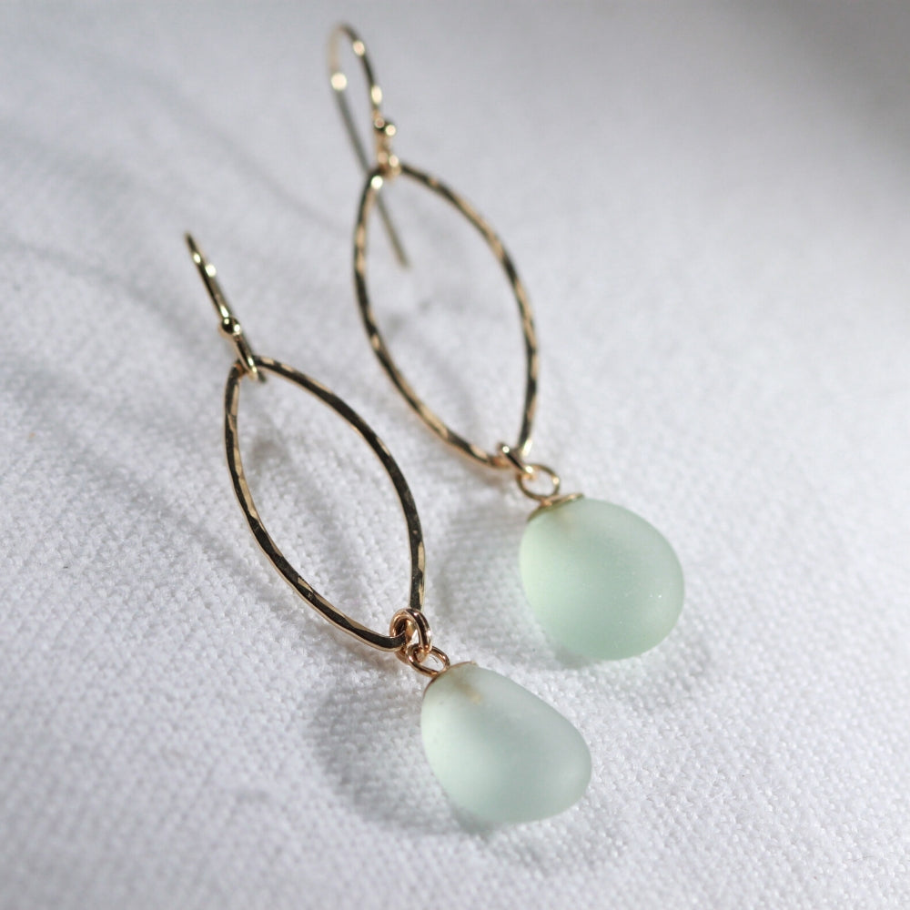 Sea foam green Sea Glass Earrings in hammered 14 kt gold-filled marquee hoop