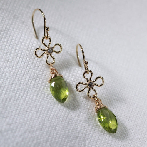 Peridot Marquise and CZ flower Dangle Earrings in 14 kt Gold Filled