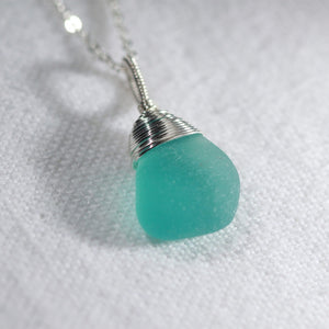 Sweet Aqua Sea Glass necklace hand wire wrapped in Sterling Silver