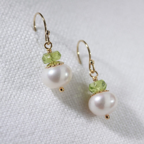 Peridot gemstone and freshwater pearl Earrings in 14 kt Gold Filled