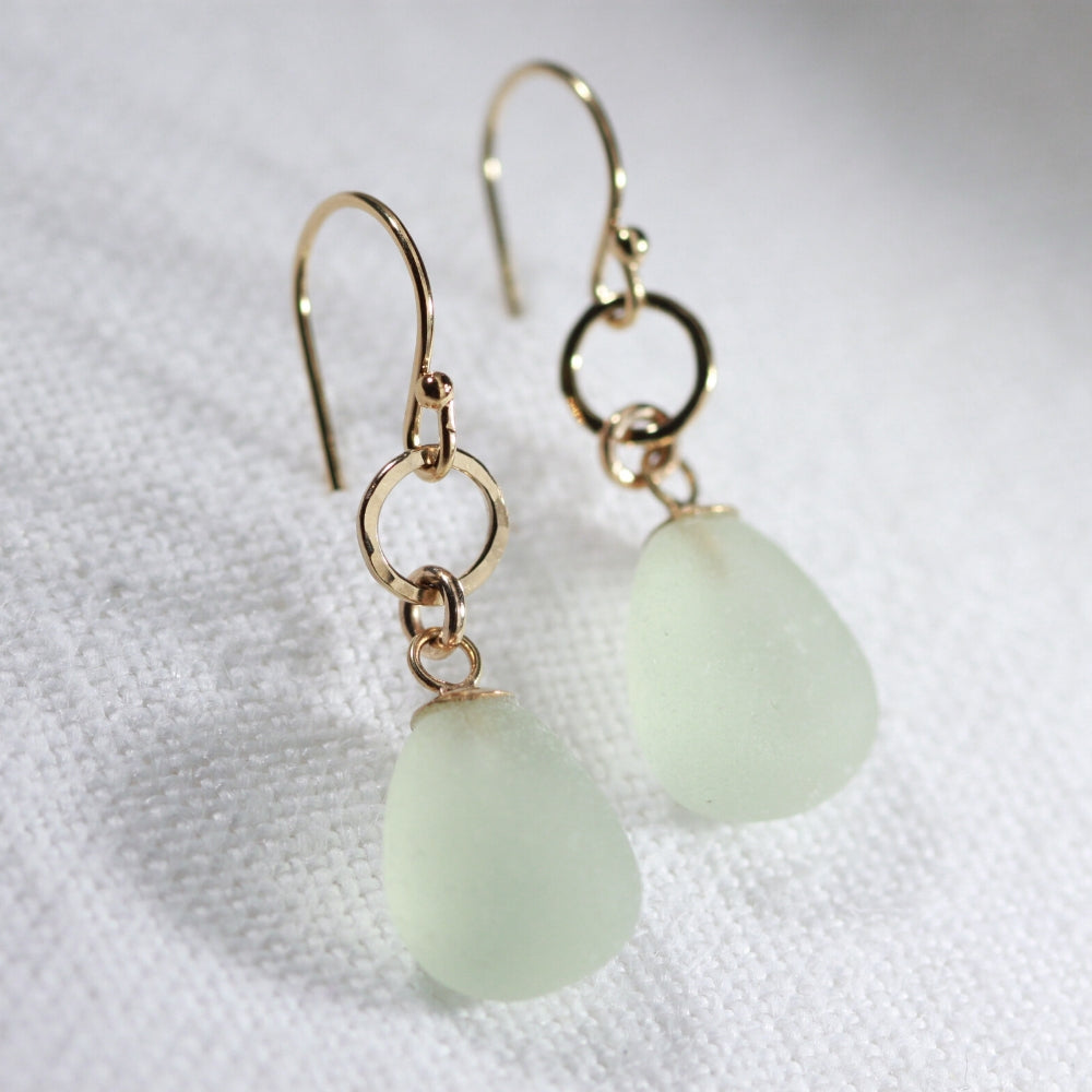 Sea foam green Sea Glass Earrings in hammered 14 kt gold-filled circle component