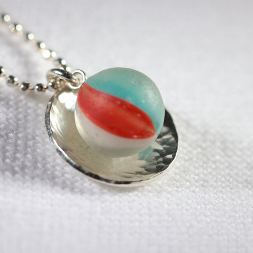 Beachball Cat's Eye Peewee Marble One of a Kind Necklace in Sterling Silver