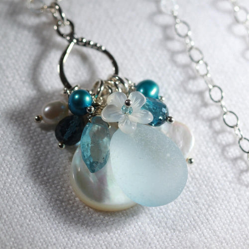 Light Cornflower blue Sea Glass Treasure Necklace