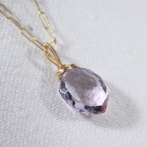 Amethyst multifaceted Hexagon pendant Necklace in 14kt gold filled