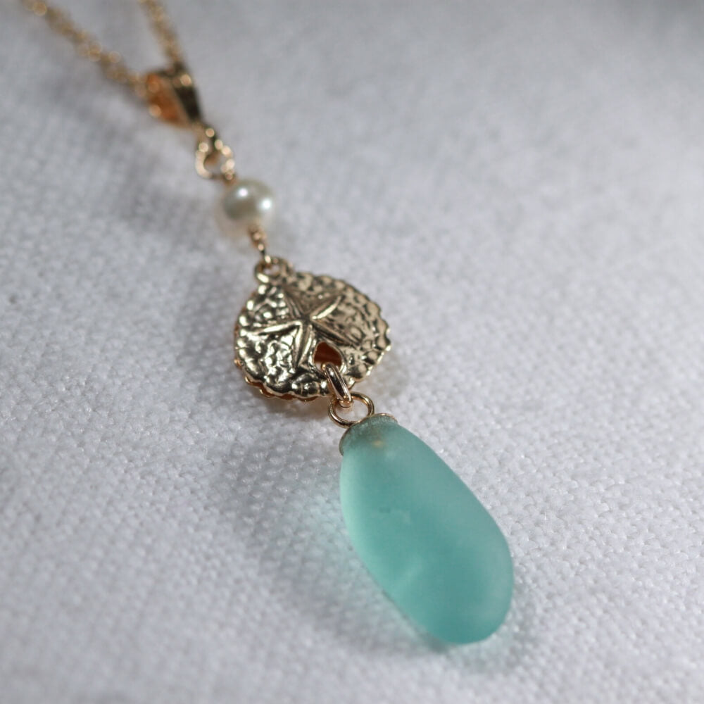 Aqua Sea Glass necklace with a pearl and 14kt GF sand dollar