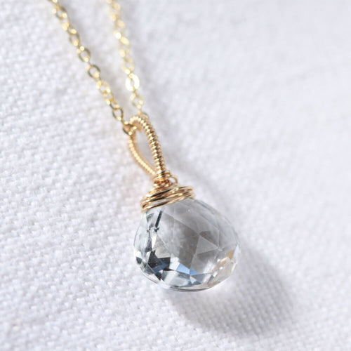 Topaz, White pendant Necklace in 14 kt Gold-Filled