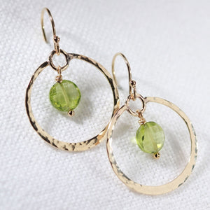 Peridot gemstone and Hammered Hoop Earrings in 14 kt Gold Filled