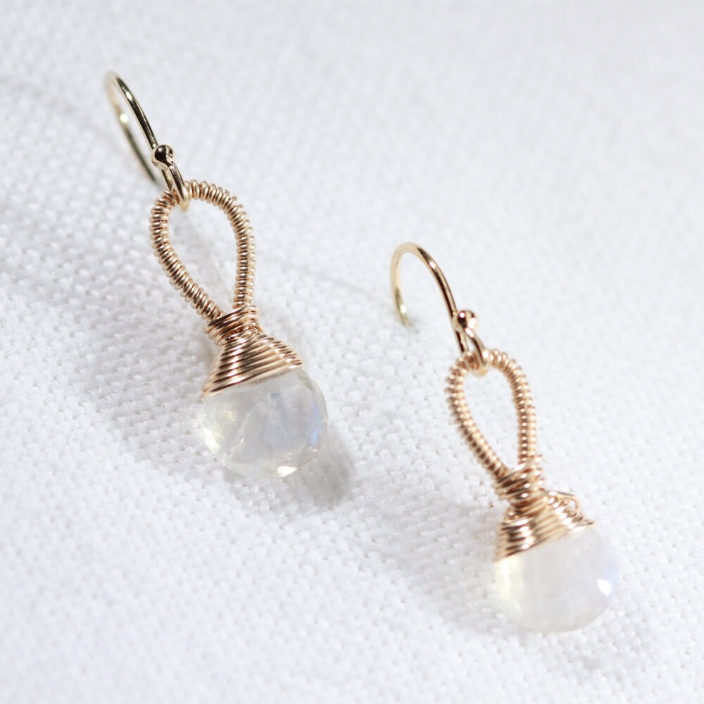 Moonstone, Rainbow gemstone Earrings hand wrapped in 14 kt Gold Filled