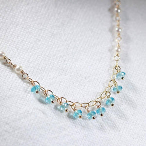 Aqua Sea Glass on hammered 14 kt gold-filled hoops