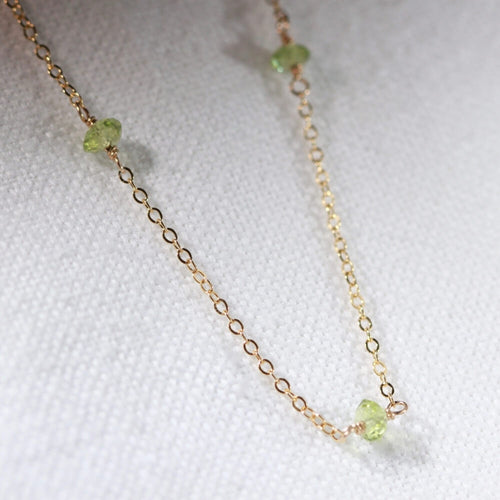 Peridot gemstone Link Necklace in 14kt Gold Filled