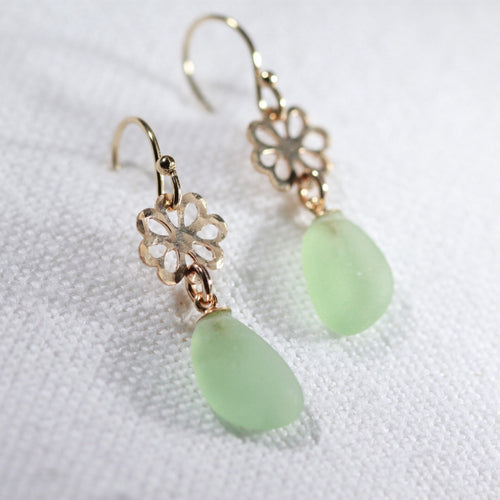 Light Green Sea Glass Earrings on hammered 14 kt gold-filled flower